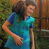 """Работы для детей, ручной работы. Ярмарка Мастеров - ручная работа Валяный жилет для мальчика """"Бирюзовый"""". Handmade."""