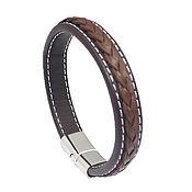 Украшения handmade. Livemaster - original item Bracelet with double stitching of leather and steel unisex classic. Handmade.