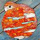 """Декоративная посуда ручной работы. Ярмарка Мастеров - ручная работа. Купить Поднос-половичок керамический круглый  """"Жара"""". Handmade."""