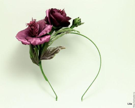 """Цветы ручной работы. Ярмарка Мастеров - ручная работа. Купить Цветы из шелка. Ободок с """"Китайскими Розами"""". Handmade. Тёмно-фиолетовый"""