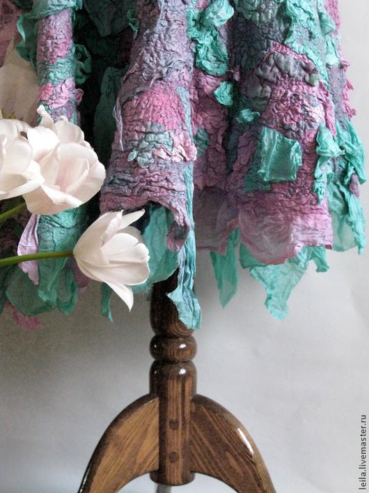 """Юбки ручной работы. Ярмарка Мастеров - ручная работа. Купить Валянная юбка из шерсти и шелка """"Bernice"""". Handmade. Тёмно-бирюзовый"""