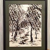 """Картины и панно ручной работы. Ярмарка Мастеров - ручная работа Картина суми-э """"Летний дождь"""". Handmade."""
