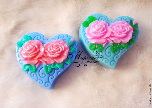 Мыло ручной работы. Ярмарка Мастеров - ручная работа. Купить Мыло Сердце с розами. Handmade. Голубой, сувенир, сердце с розами