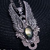 "Украшения handmade. Livemaster - original item Silver plated Pendant ""Angel 2"" Labradorite, Necklace, Wings. Handmade."