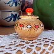 Мини-баночка из дерева для хранения чего-то очень маленького