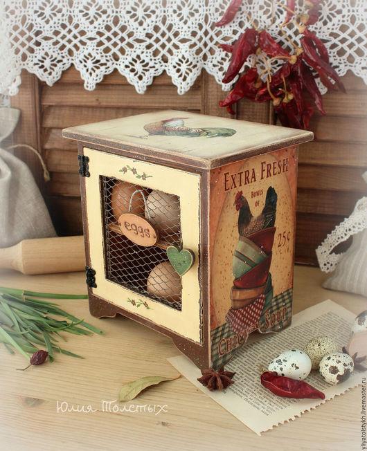 """Кухня ручной работы. Ярмарка Мастеров - ручная работа. Купить Шкафчик для яиц  """"Кантри"""". Handmade. Оранжевый, декупаж для кухни, домик"""
