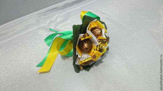 Букеты ручной работы. Ярмарка Мастеров - ручная работа. Купить Мини-букет из конфет. Handmade. Желтый, сладкий подарок