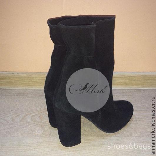 Обувь ручной работы. Ярмарка Мастеров - ручная работа. Купить Ботильоны с резиночкой 10 cм,черный замш. Handmade. Черный