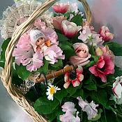 Цветы и флористика handmade. Livemaster - original item Composition in a basket on the birth of a daughter. Handmade.