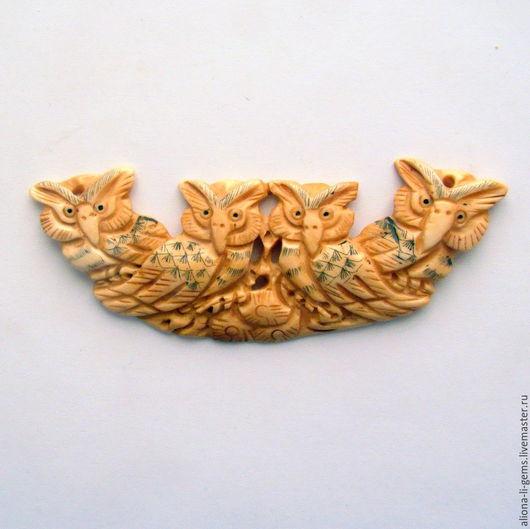 Для украшений ручной работы. Ярмарка Мастеров - ручная работа. Купить Совушки подвеска резная кость буйвола 90х35х5мм. Handmade.