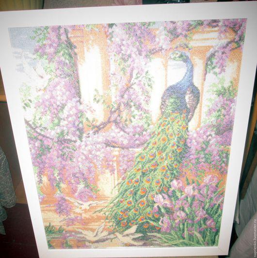 """Картины цветов ручной работы. Ярмарка Мастеров - ручная работа. Купить Картина """"ПАВЛИНЫ"""". Handmade. Тёмно-фиолетовый, Голуби, колонны"""