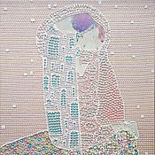 Картины и панно handmade. Livemaster - original item Gentle picture of pearl mosaic style Gustav Klimt. Kiss. Handmade.
