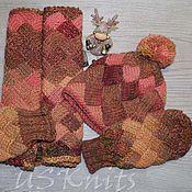 Аксессуары ручной работы. Ярмарка Мастеров - ручная работа Вязаный комплект шарф-снуд, шапка (берет) и варежки (митенки). Handmade.