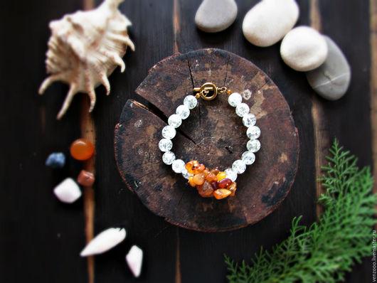 Браслеты ручной работы. Ярмарка Мастеров - ручная работа. Купить браслет с янтарем и кварцем.. Handmade. Комбинированный, браслет из камней