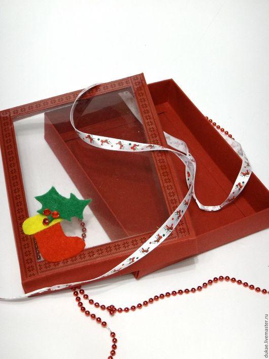 Подарочная упаковка ручной работы. Ярмарка Мастеров - ручная работа. Купить Коробочка с прозрачным окошком. Handmade. Ярко-красный