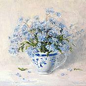 Картины и панно handmade. Livemaster - original item Oil painting of forget-me-not impressionism. Handmade.