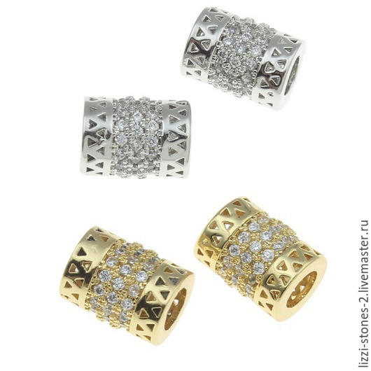 Бусина бочонок Королевский золото и серебро (Milano) Евгения (Lizzi-stones-2)