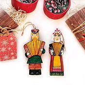 Кукольный театр ручной работы. Ярмарка Мастеров - ручная работа Елочные игрушки из дерева - музаканты. Handmade.