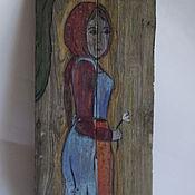 """Картины и панно ручной работы. Ярмарка Мастеров - ручная работа Картина на старых досках """"Девушка"""". Handmade."""