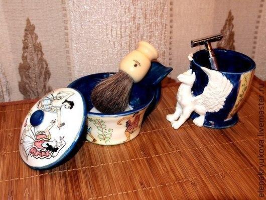 Ванная комната ручной работы. Ярмарка Мастеров - ручная работа. Купить стаканчик для помазка. Handmade. Тёмно-синий, аксесуары для бритья