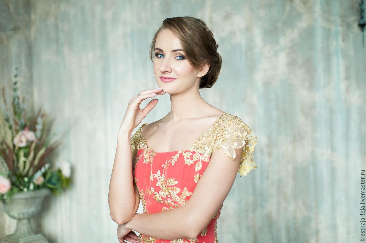 Вечернее платье на выпускной в макси длине Красное золото, Платья, Рязань, Фото №1