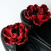 Украшения ручной работы. Ярмарка Мастеров - ручная работа Клипсы для обуви - красные маки из кожи. Handmade.