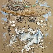 """Картины и панно ручной работы. Ярмарка Мастеров - ручная работа Графика """"Садовый волшебник"""". Handmade."""