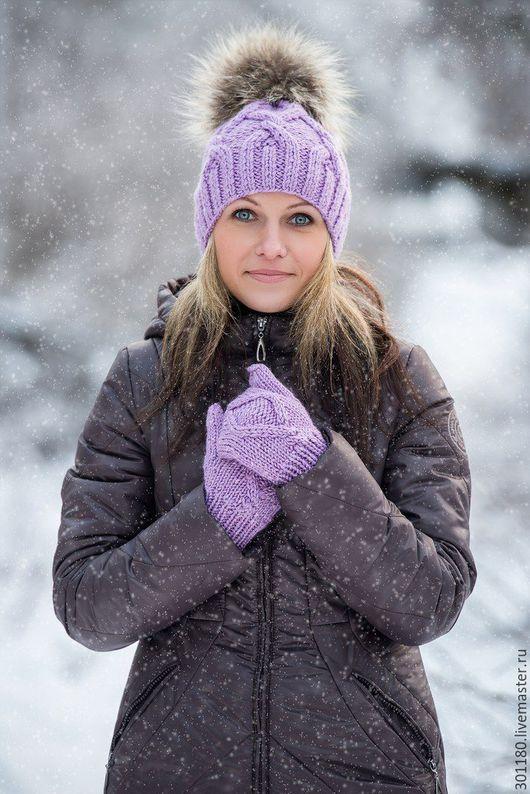 Шапки ручной работы. Ярмарка Мастеров - ручная работа. Купить Комплект женский(шапочка и рукавички). Handmade. Комбинированный, шапка зимняя