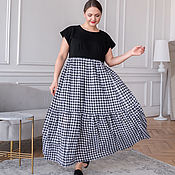 Одежда handmade. Livemaster - original item Boho maxi dress with ruffles, Knitwear and cambric checkered. Handmade.