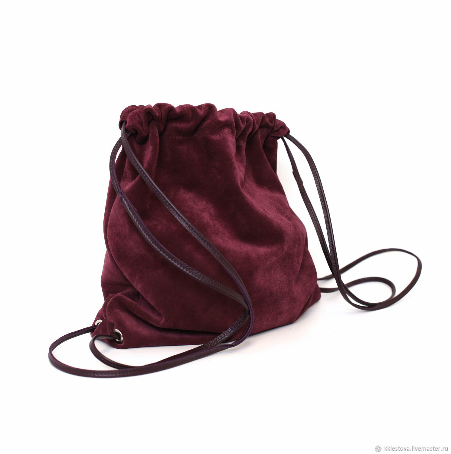 Burgundy suede Backpack bag medium with pocket Unisex Urban, Backpacks, Moscow,  Фото №1