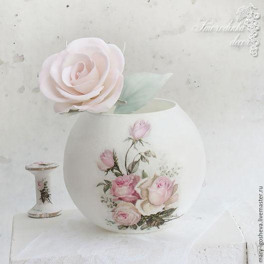 Вазы ручной работы. Ярмарка Мастеров - ручная работа. Купить Ваза Нежные розы. Handmade. Ваза, ваза для сухоцветов, Декупаж