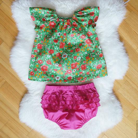 Одежда для девочек, ручной работы. Ярмарка Мастеров - ручная работа. Купить Комплект для девочки из хлопка (туника и трусики-блумеры). Handmade.