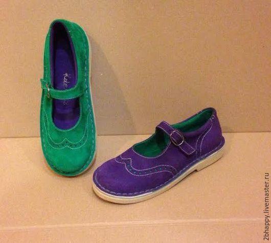 Обувь ручной работы. Ярмарка Мастеров - ручная работа. Купить Туфли Куда уходит детство... зелено-фиолетовые. Handmade. Комбинированный