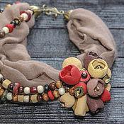 Украшения ручной работы. Ярмарка Мастеров - ручная работа Колье шарф в стиле бохо украшение на шею стильное украшение. Handmade.