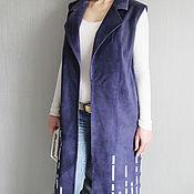 Одежда handmade. Livemaster - original item Suede coat / vest color denim. Handmade.