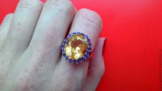 """Кольца ручной работы. Ярмарка Мастеров - ручная работа. Купить """"Орианн"""" - роскошное кольцо с крупным ярким цитрином и аметистами. Handmade."""