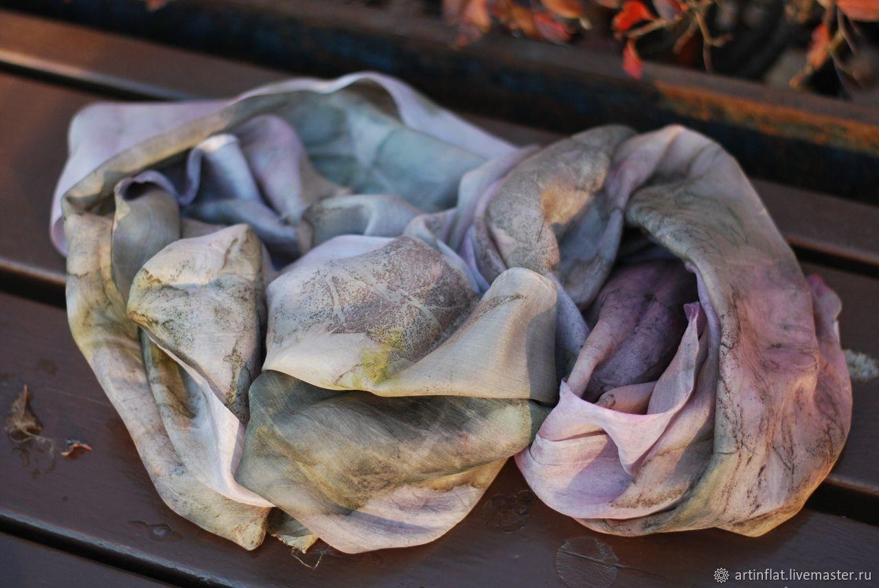 Silk scarf 'Frosty Creek' ekoprint, Scarves, Moscow, Фото №1