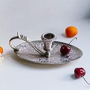 handmade. Livemaster - original item Vintage Silver Plated Ornate Candle Holder with Handle England. Handmade.