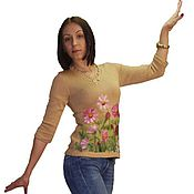 """Одежда ручной работы. Ярмарка Мастеров - ручная работа Джемпер вязаный """"Воздушная красотка космея"""". Handmade."""