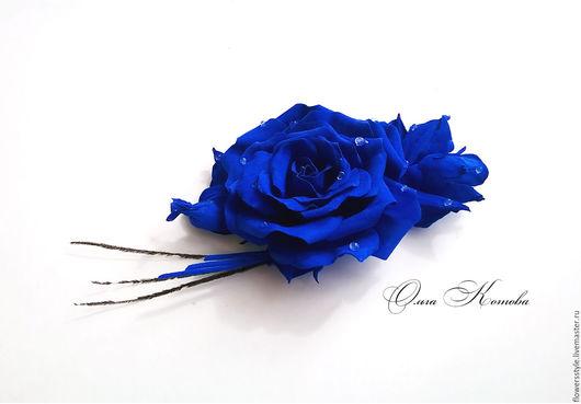Броши ручной работы. Ярмарка Мастеров - ручная работа. Купить Синяя брошь цветок роза из кожи Роскошный ультрамарин. Handmade.