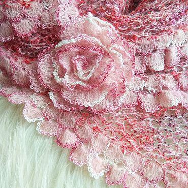 Accessories handmade. Livemaster - original item Rose Petals pink kid mohair shawl and brooch. Handmade.