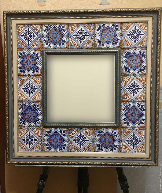 Зеркала ручной работы. Ярмарка Мастеров - ручная работа. Купить Зеркало Португалия. Handmade. Бежевый, голубой, зеркало в раме