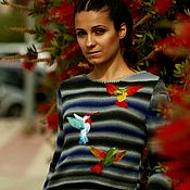 """Одежда ручной работы. Ярмарка Мастеров - ручная работа Свитер """" Цветные колибри """". Handmade."""