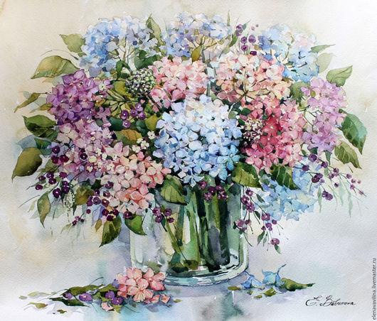 Картины цветов ручной работы. Ярмарка Мастеров - ручная работа. Купить Нежная гортензия. Handmade. Голубой, букет, цветы в вазе
