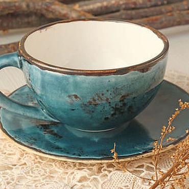 Посуда ручной работы. Ярмарка Мастеров - ручная работа Керамическа чашка Глубокий бирюзовый. Handmade.