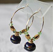 Украшения handmade. Livemaster - original item Earrings lampwork dark blue Light swirl. Handmade.