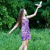 Одежда ручной работы. Ярмарка Мастеров - ручная работа Вязаное крючком платье Птицы белые мои. Handmade.