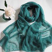 Аксессуары handmade. Livemaster - original item Kid mohair green knitted stole. Handmade.