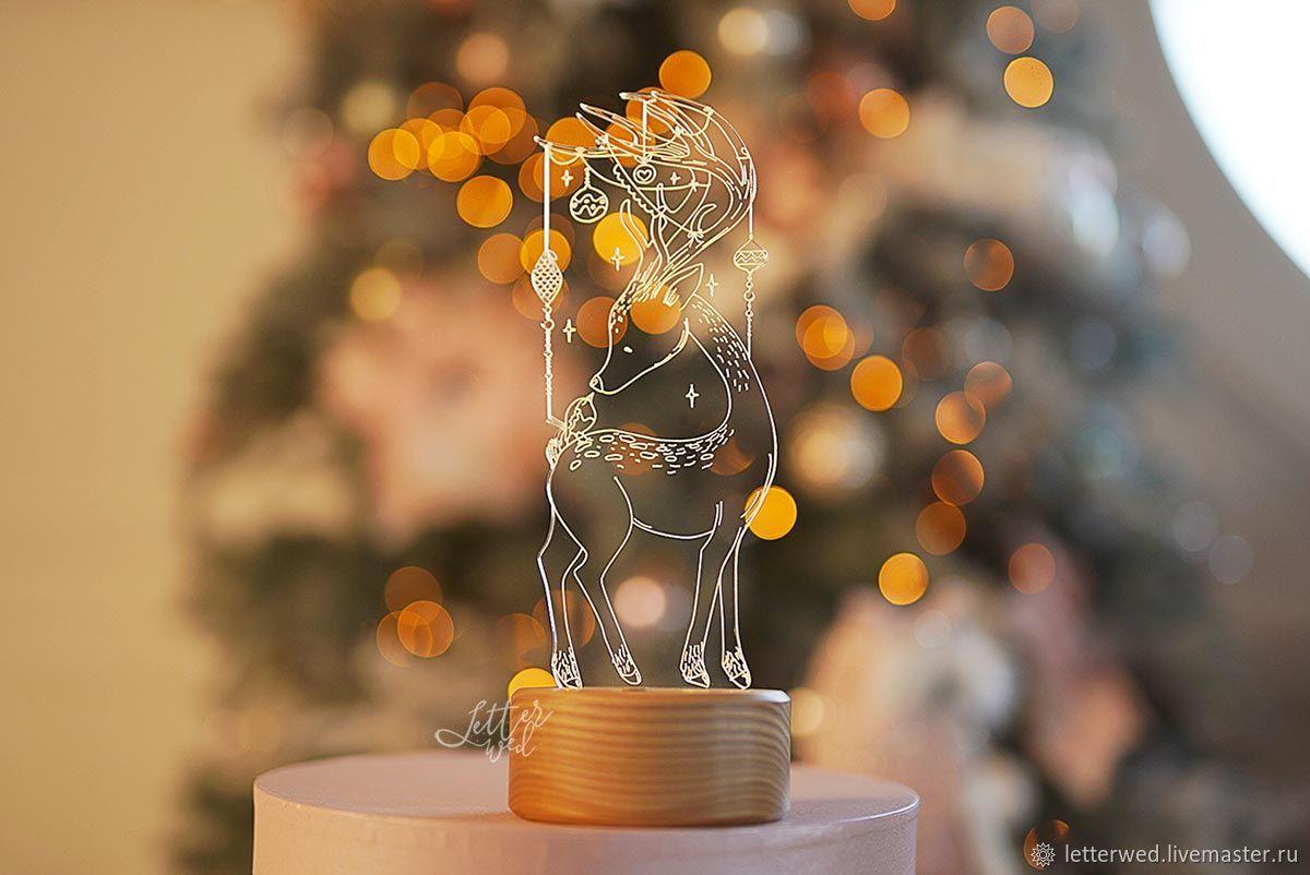 """Освещение ручной работы. Ярмарка Мастеров - ручная работа. Купить Светильник-ночник """"Новогодний олень"""". Handmade. Для детей, серый"""