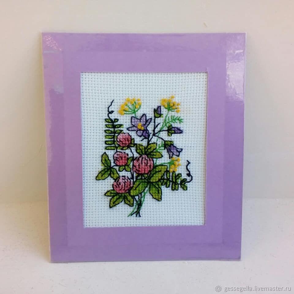 Девушка, вышивка открытка цветок